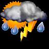 Nuboso con tormenta y lluvia escasa